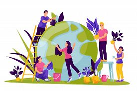 People Take Care Of Green Earth Planet. Vector Flat Cartoon Illustration For Save The Earth Day. Env