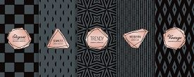 Luxury Black Seamless Pattern Collection. Vector Set Of Elegant Dark Vintage Background Swatches Wit