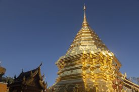 Wat Phra That Doi Suthep Is Tourist Attraction Of Chiang Mai, Thailand.