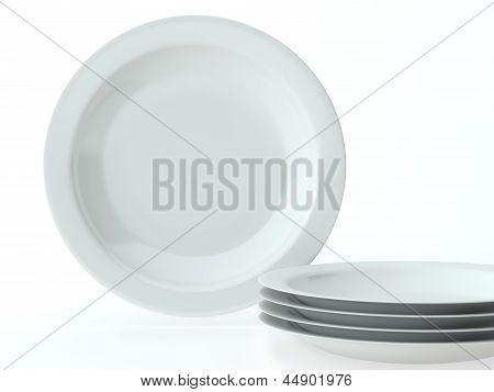 White Round Ceramic Dishes Set
