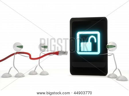 unsafe icon on a smart phone with three robots
