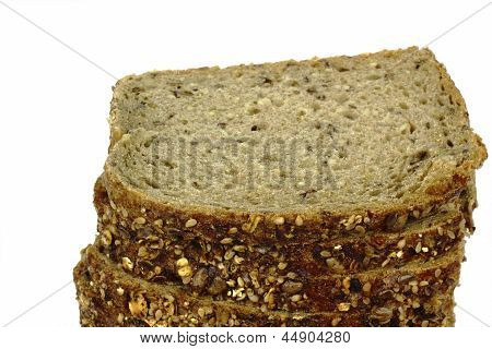 german bread with sunflowerseeds on the white background