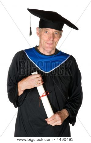 elderly student with his certificate isolated over white poster