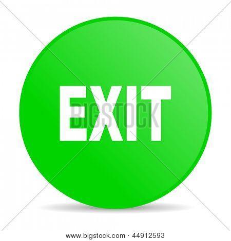 exit green circle web glossy icon