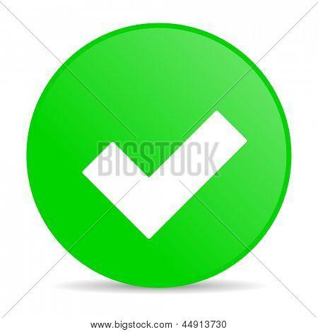 accept green circle web glossy icon