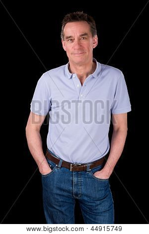 Portrait Of Handsome Smiling Happy Man Hands In Pockets