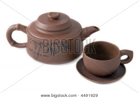 Japanese Clay Teapot And Cup
