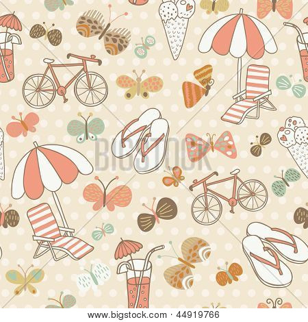 Summer seamless pattern. Vacation concept background. Seamless pattern can be used for wallpapers, pattern fills, web page backgrounds, surface textures.