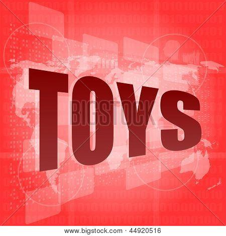 Marketing Concept: Words Toys Marketing On Digital Screen