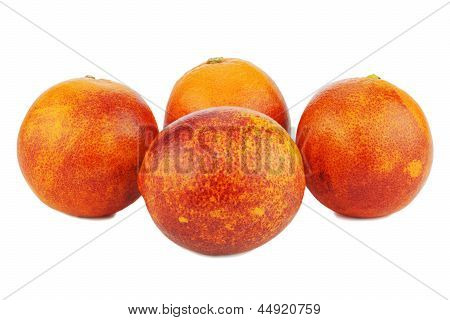 Ripe Red Blood Oranges Isolated On White Background.
