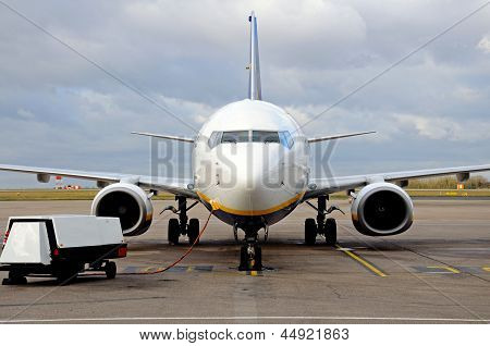 Boeing 737-800 parked on the airport apron East Midlands Airport Leicestershire UK Western Europe. poster