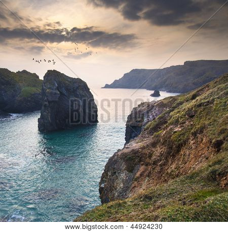Beautiful sunset over secluded natural cove