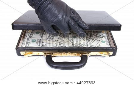 The Hand In A Glove Opens A Case