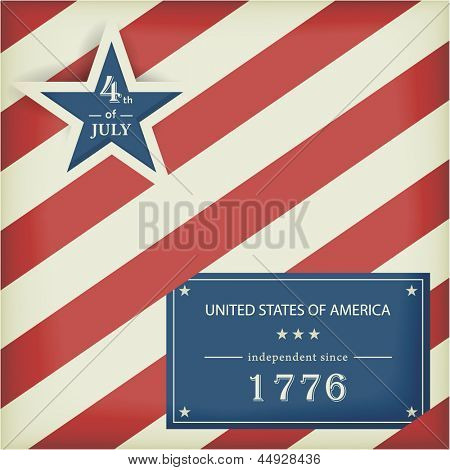 poster of Red white diagonally striped background with big blue star with the wording: 4th of July and a blue label with the wording: United Stated of America independent since 1776.