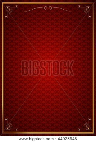 Corner patterns in red wallpaper