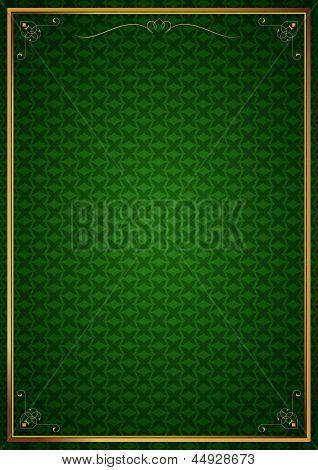Corner patterns in green wallpaper