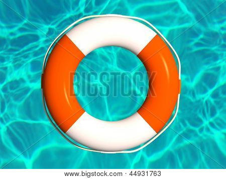 Red And White Lifebuoy In Water