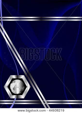 Blue business card or poster templates with wave patterns and a silver globe oon the bottom left hand side