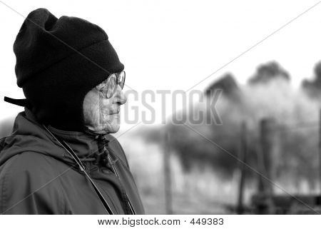 Elderly Woman Staring Off (b/w)