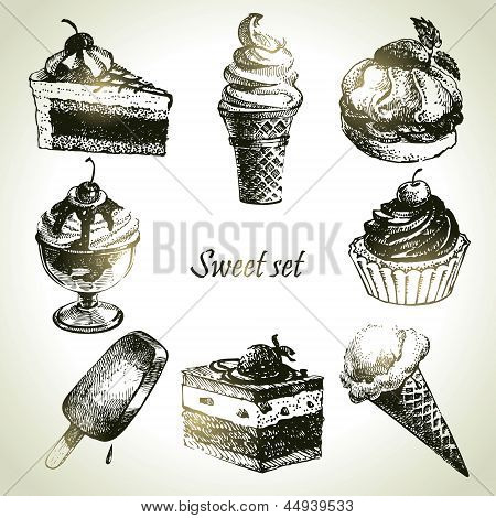 Sweet Set. Hand Drawn Illustrations Of Cake And Ice Cream