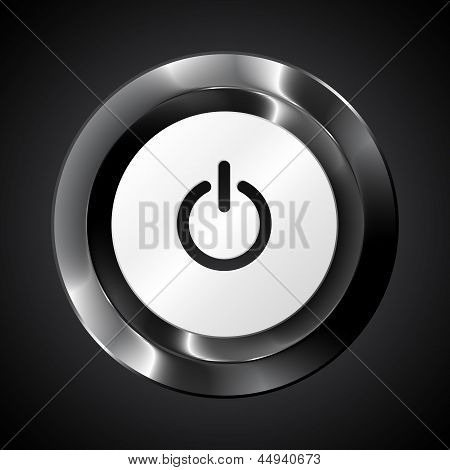 Black metallic vector power button