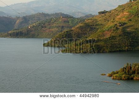 African Lake With Small Boat