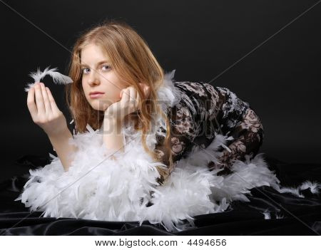 Girl In Peignoir Befeathered