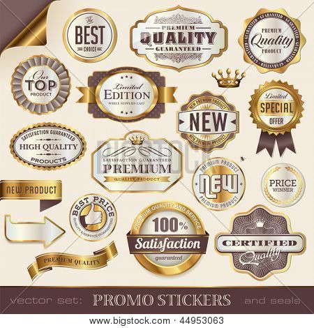 golden promo stickers, labels and seals