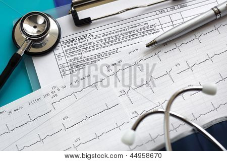 Cardiogram pulse trace and stethoscope concept for cardiovascular medical exam