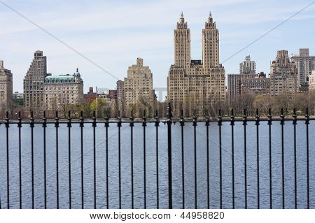 Looking at the West Side from the Jacqueline Kennedy Onassis Reservoir in Central Park. poster