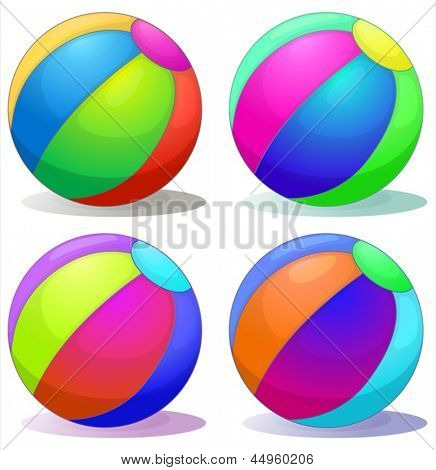 Illustration of the four colorful inflatable balls on a white background