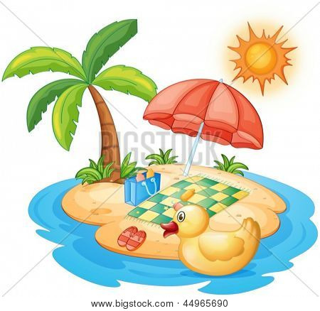 Illustration of a summer at the beach on a white background