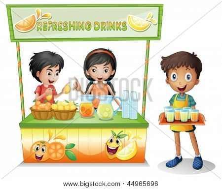 Illustration of the kids at the stall selling refreshing drinks on a white background