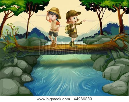 Illustration of the two kids crossing the river
