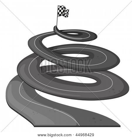 Illustration of a long road with a banner at the end on a white background