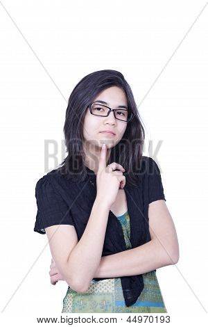 Intelligent Looking Young Biracial Teen Girl Looking At Camera, Isolated