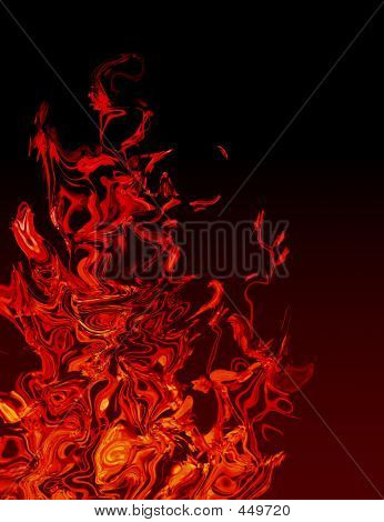 orange and red abstract of flames on black. poster