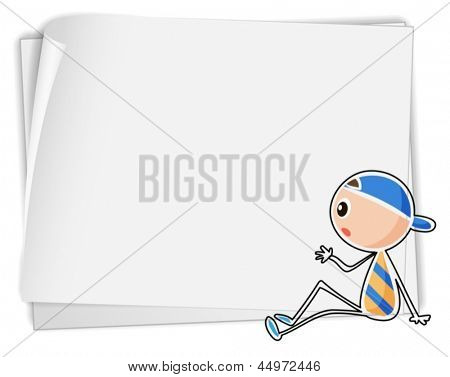Illustration of a bondpaper with a sketch of a boy sitting down on a white background