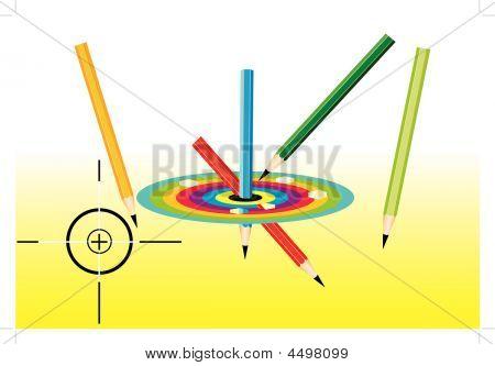 Colored Pencils And Dartboard