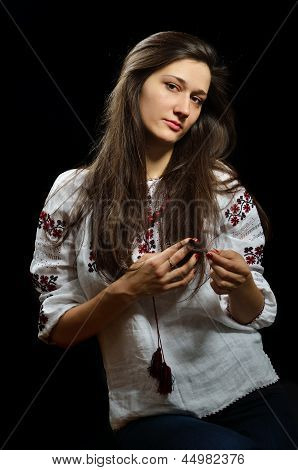 Ukrainian Girl In Embroidered Blouse