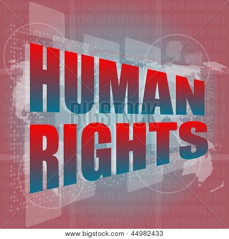 Socail Concept: Words Human Rights On Digital Touch Screen
