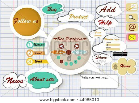 Design Of Web Page On School Copybook Sheet