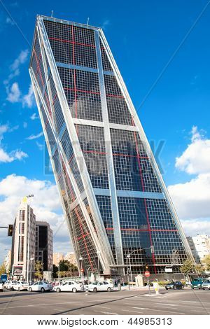 MADRID - OCT 13: Puerta de Europa towers at suny day on  Oct 13, 2010 in Madrid, Spain. Puerta de Europa towers, built in 1996, are the first inclined skyscrapers in the world