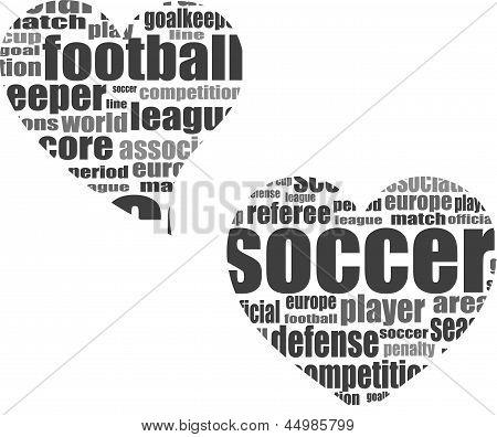 Football Word Cloud Concept In Heart Shape 3d