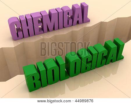 Two words CHEMICAL and BIOLOGICAL split on sides separation crack.