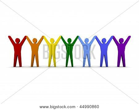 Group of different people success. Concept 3D illustration