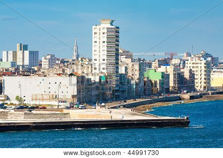 View of the Havana skyline facing the sea with the famous avenue of El Malecon in the foreground