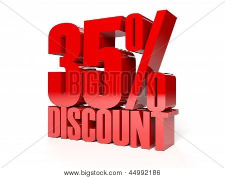 35 percent discount. Red shiny text.