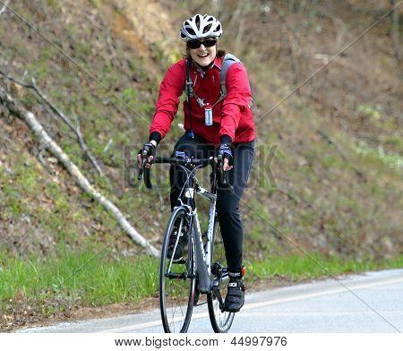 Woman In A Bike Race