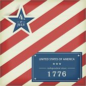 Red white diagonally striped background with big blue star with the wording: 4th of July and a blue label with the wording: United Stated of America independent since 1776. poster